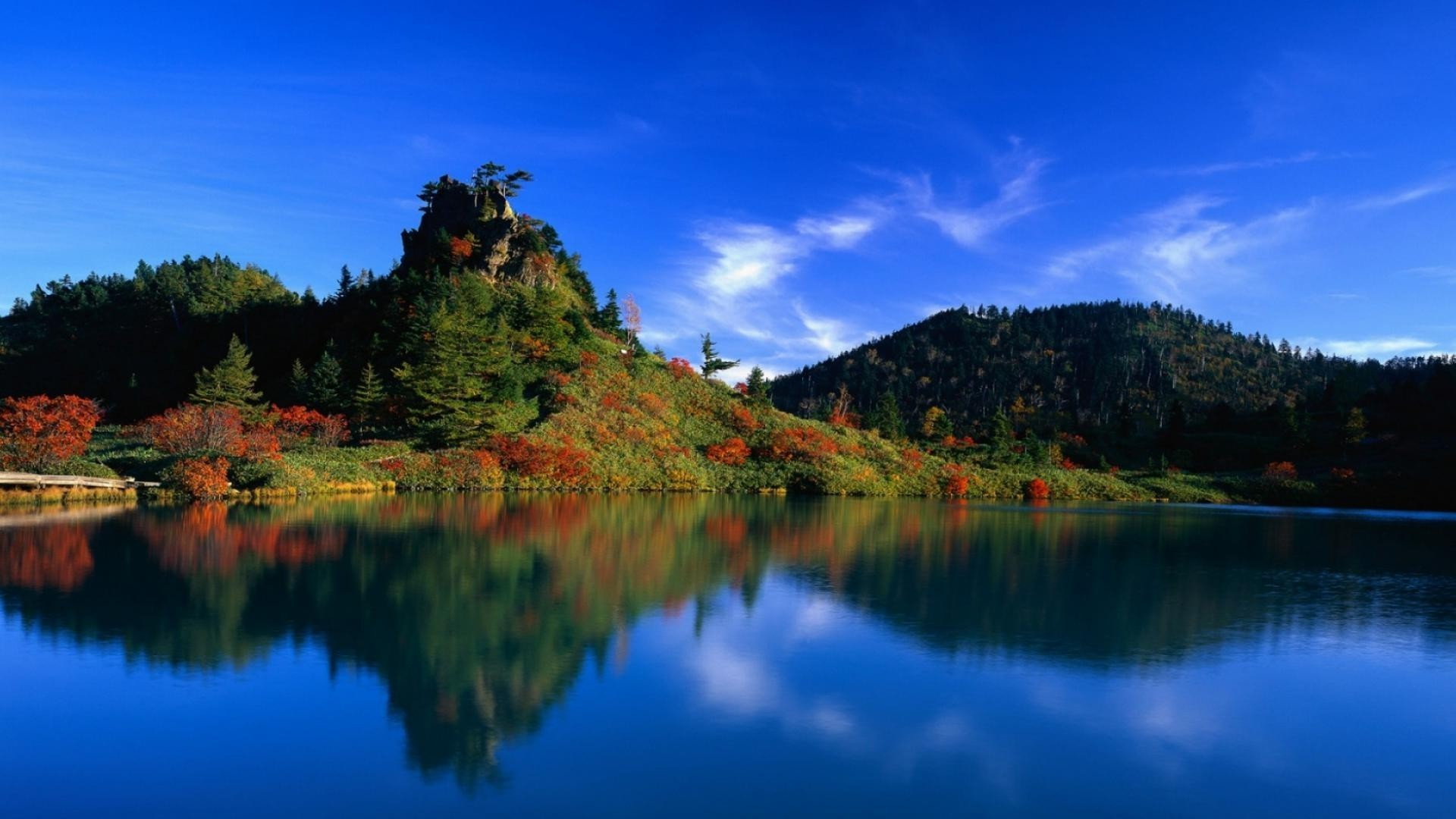 Mountains,lake,sky,trees