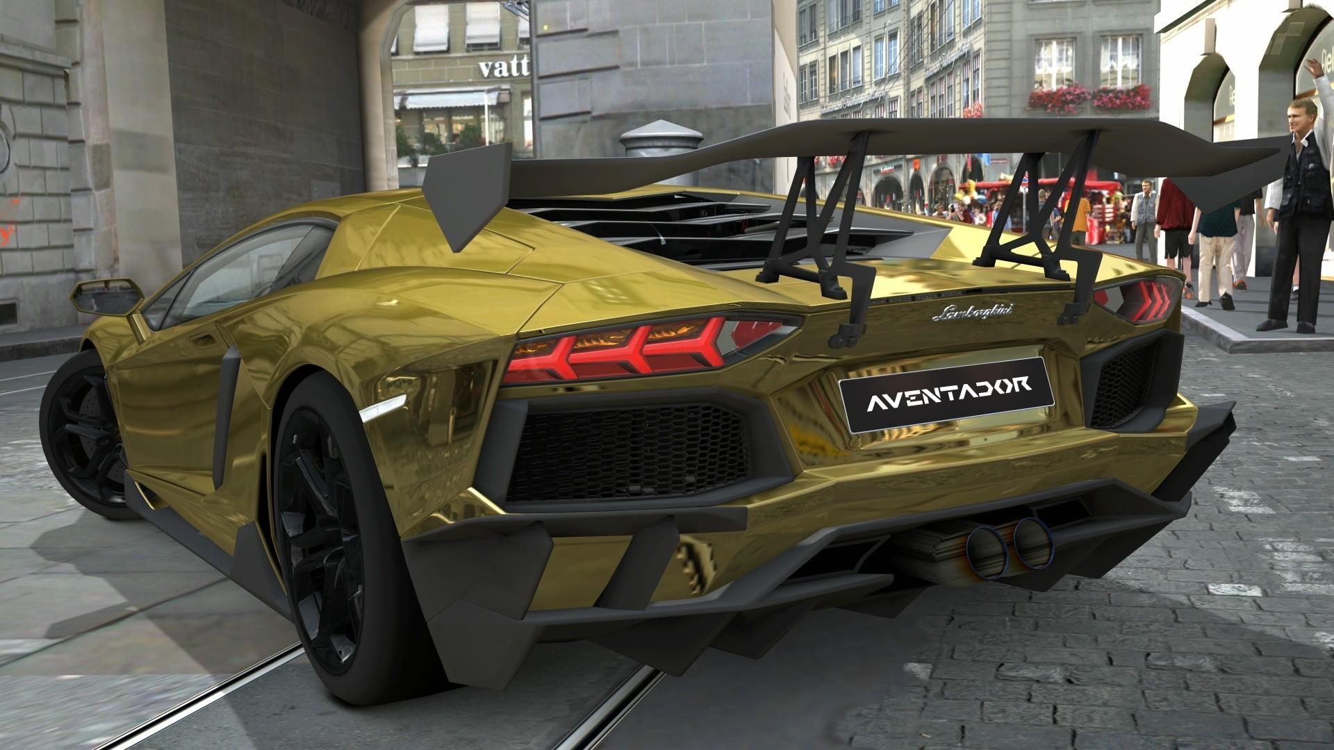 Lamborghini Aventador LP700 4 Gold Chrome Gran Turismo 5 Desktop Wallpapers For Free