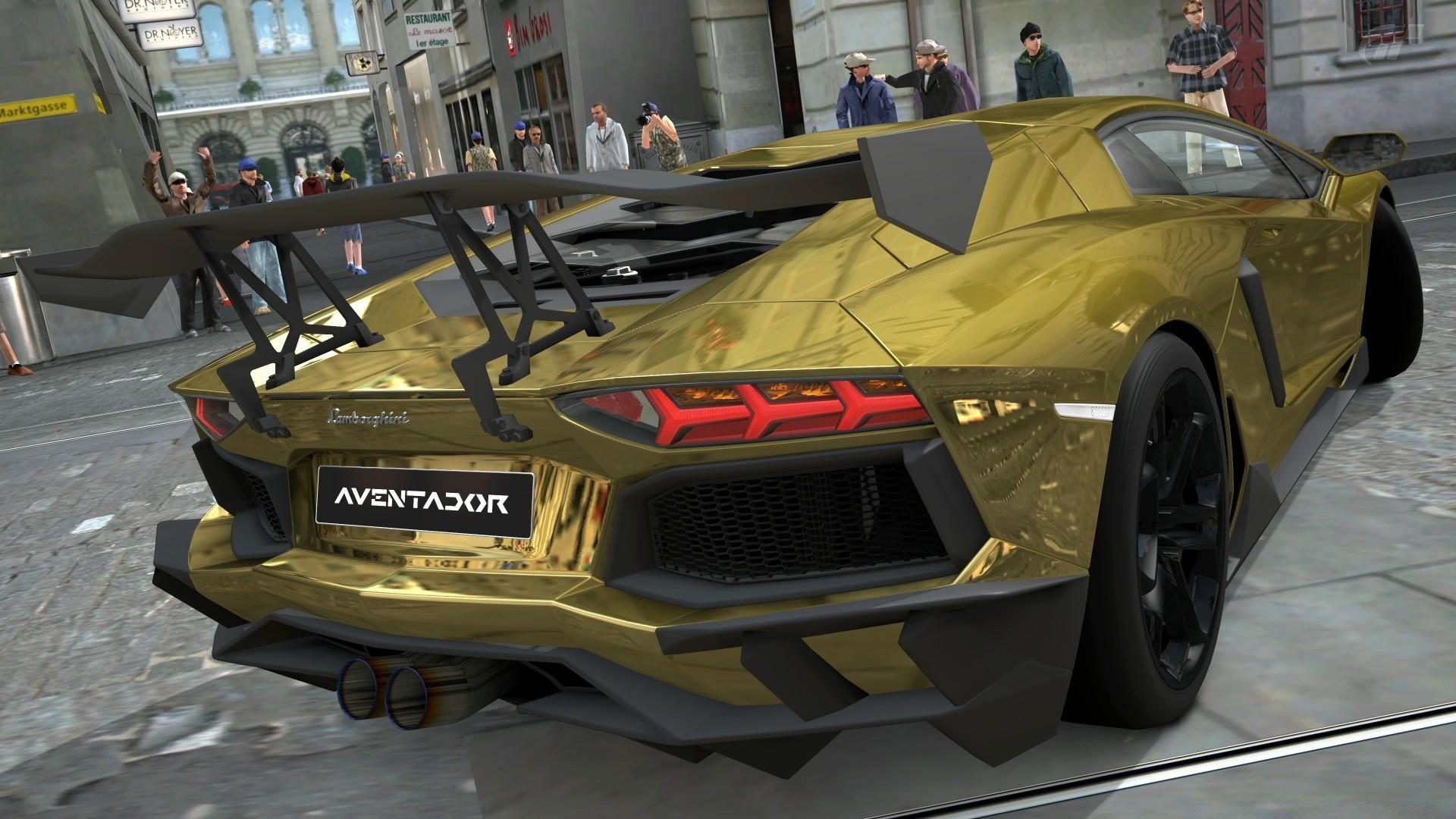 Lamborghini Aventador LP700 4 Gold Chrome Gran Turismo 5 IPhone Wallpapers For Free