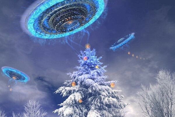 UFO steals Christmas decorations