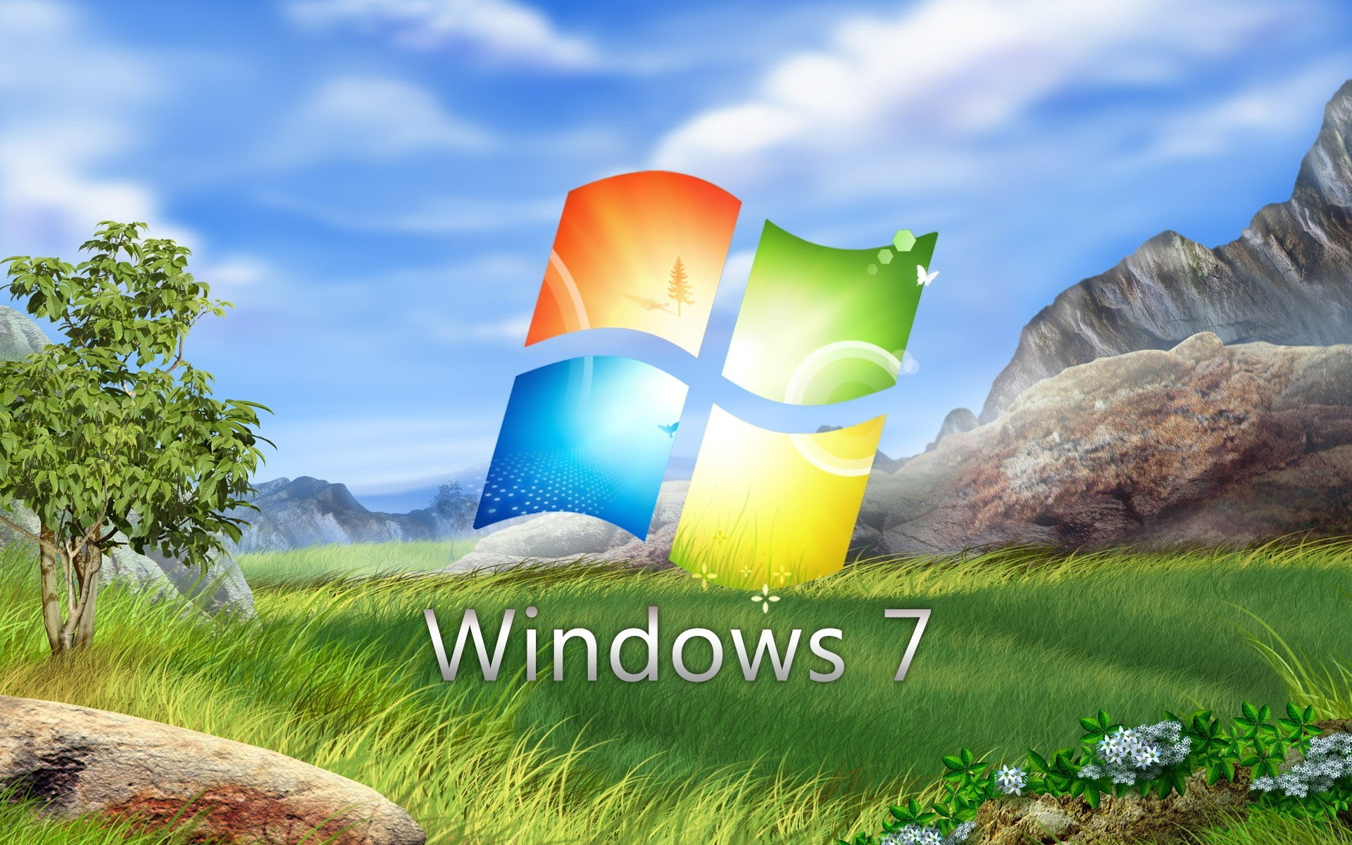 logo windows 7 on a glade with flowers. desktop wallpapers for free.