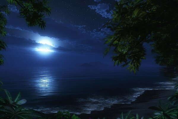 Night tide, moon,island