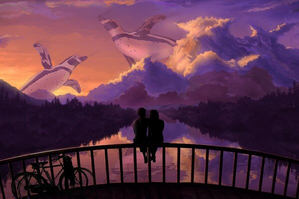 Couple in love on the bridge admiring the sunset