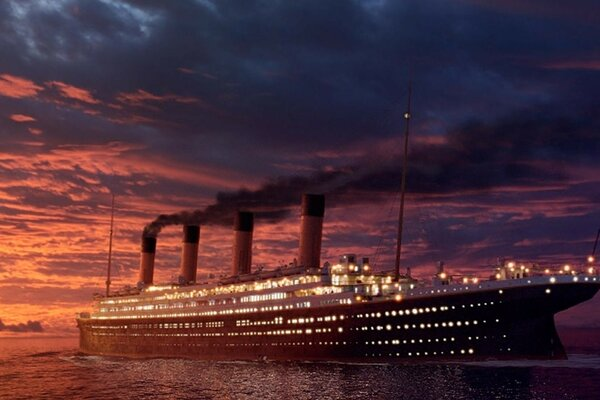 Titanic at sunset