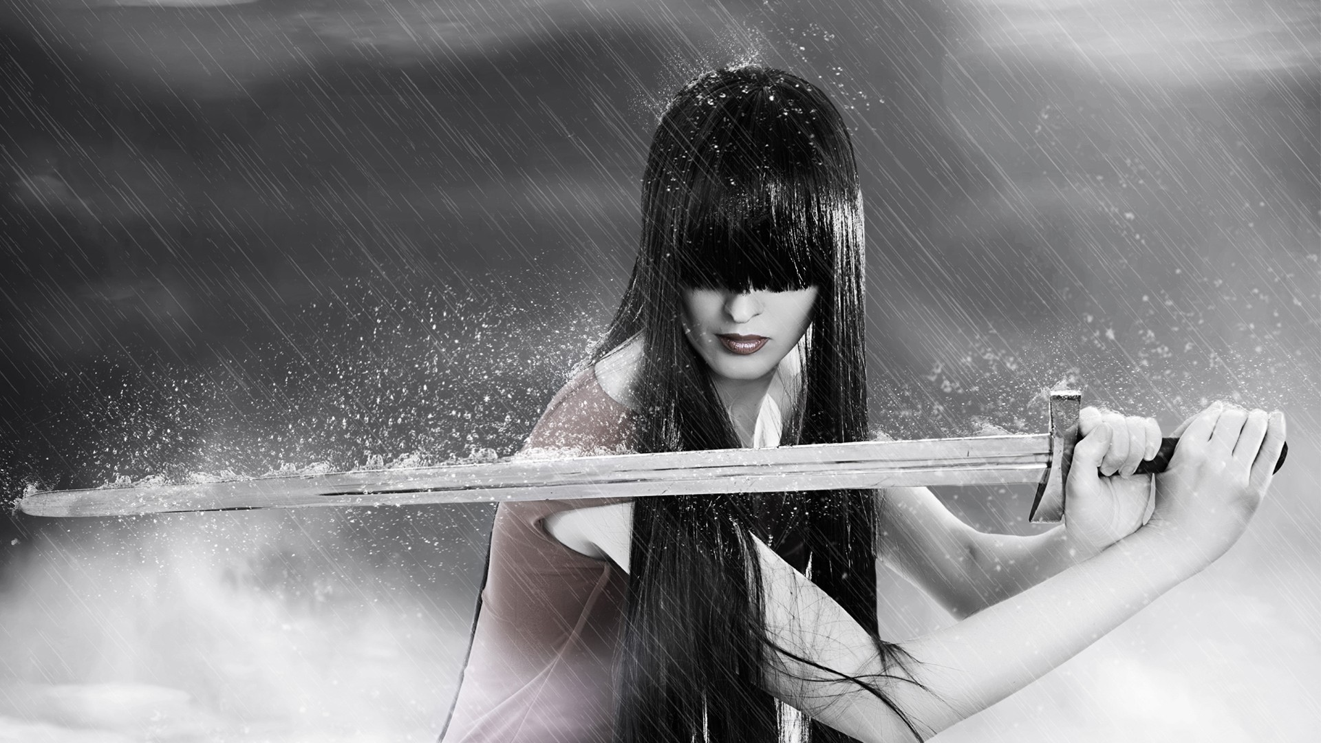 Girl with a sword in the rain
