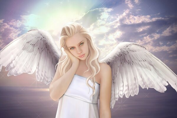Angel on clouds background