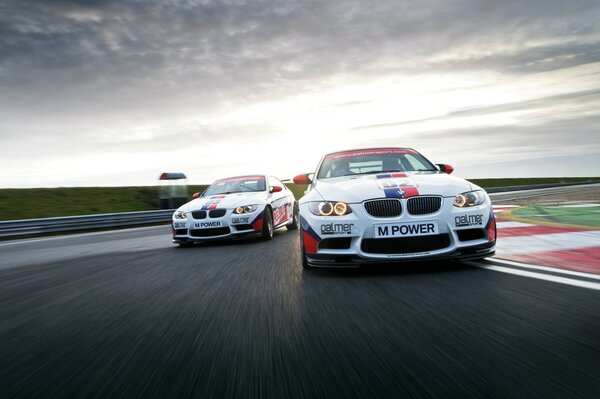 Two Bmw racing on the track