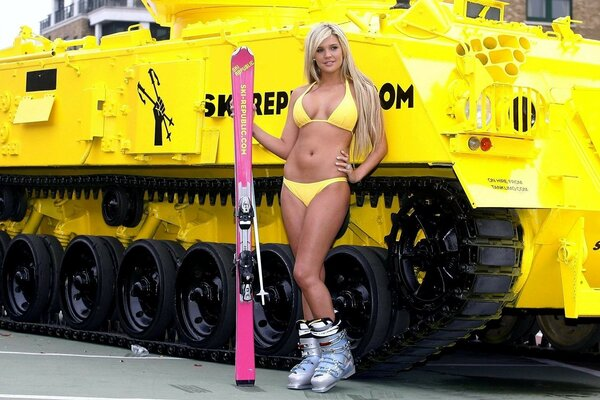 Blondie with skis of the snowmobile