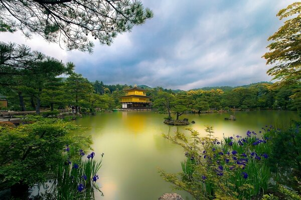 House in the Chinese style in the forest by the lake