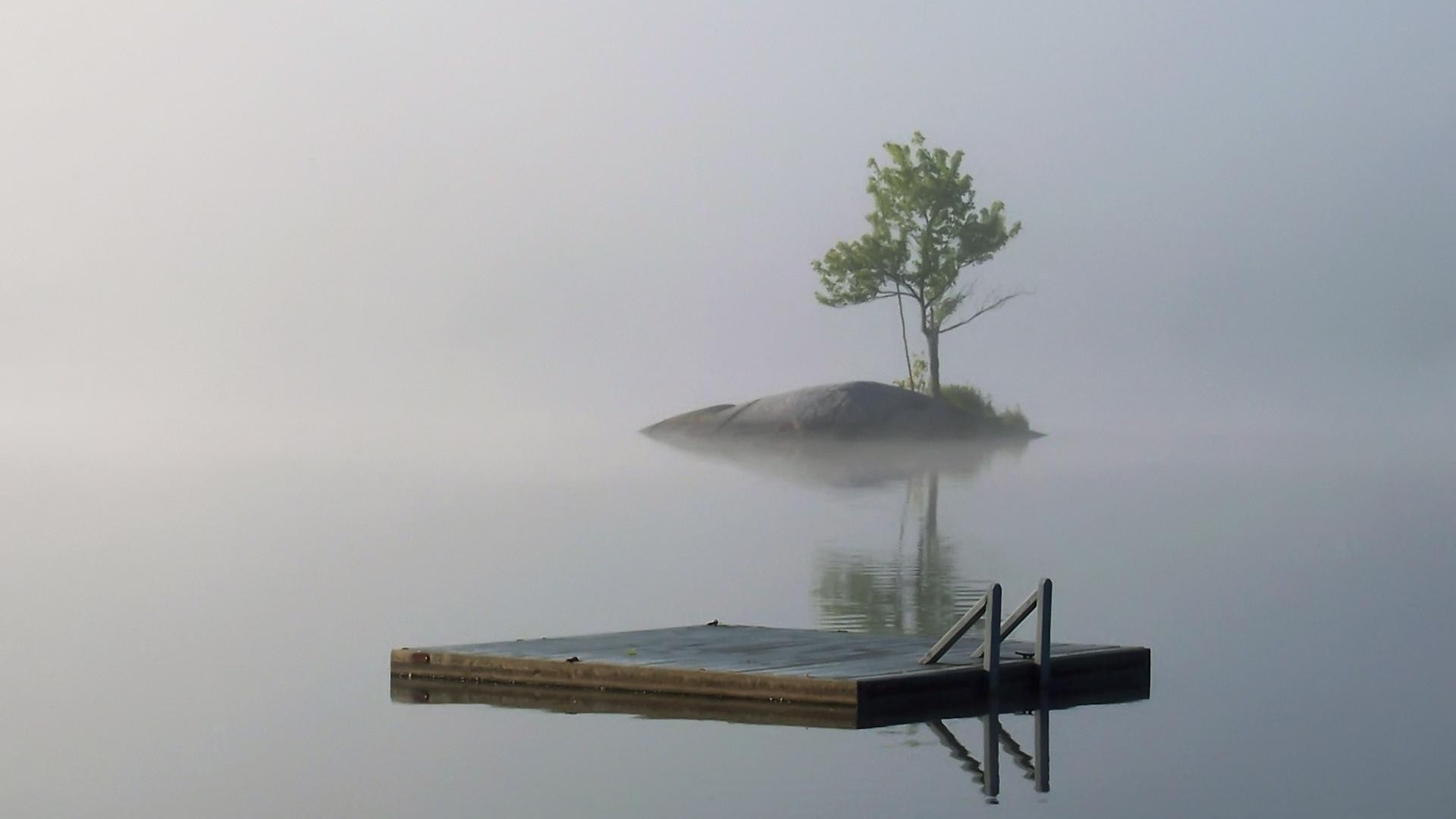 Lonely island, a tree,a raft, fog,water