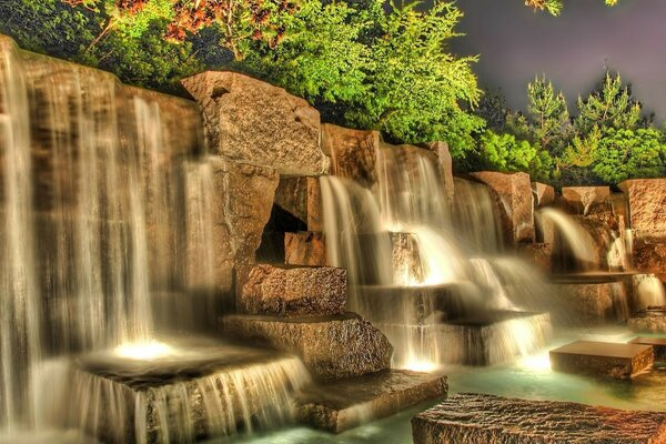Waterfall at night with backlight