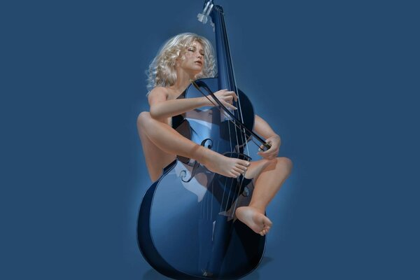 The girl with contrabass