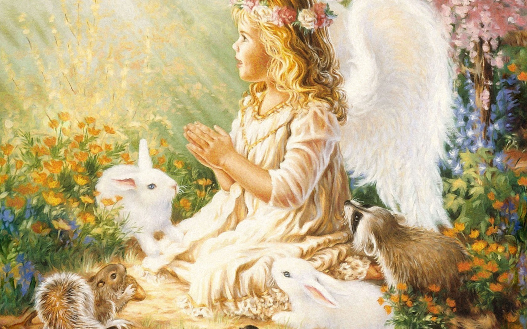 Angel Rabbits Flowers Free Wallpapers