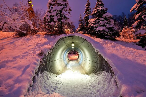 A tunnel through the snow