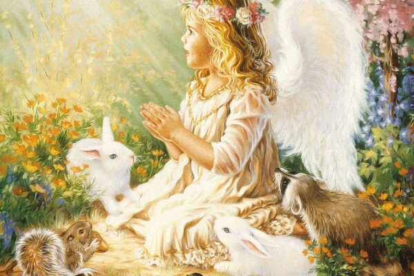 Angel, rabbits, flowers