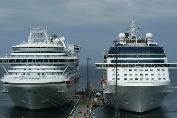 Cruise ships dock at the pier