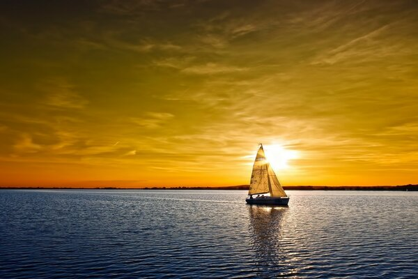 Sunset, ocean, sailboat