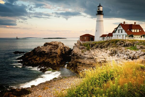 Portland s main lighthouse at Cape Elizabeth on the coast of the Gulf of Maine