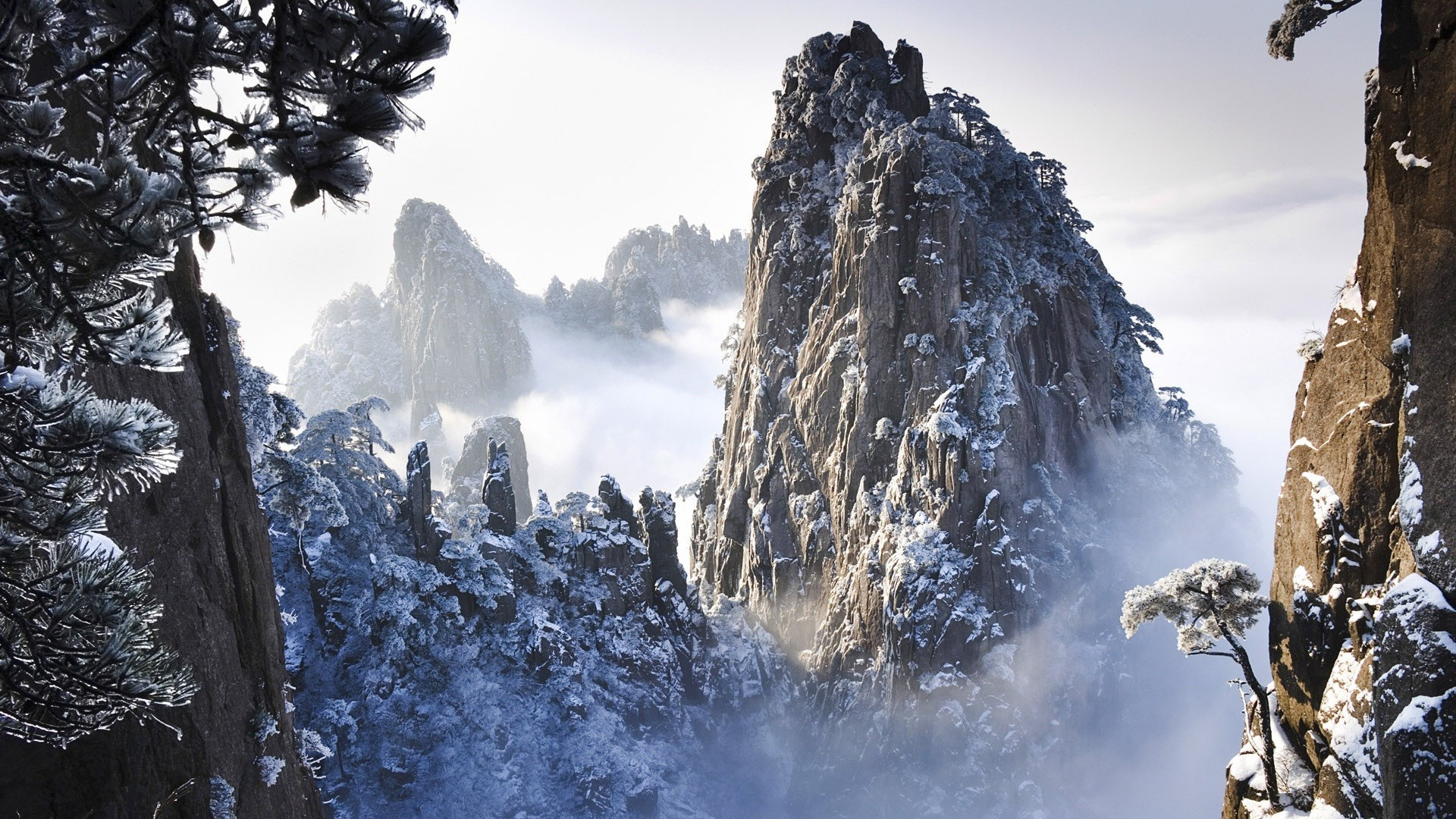 huangshan mountains in winter in anhui china. android wallpapers for