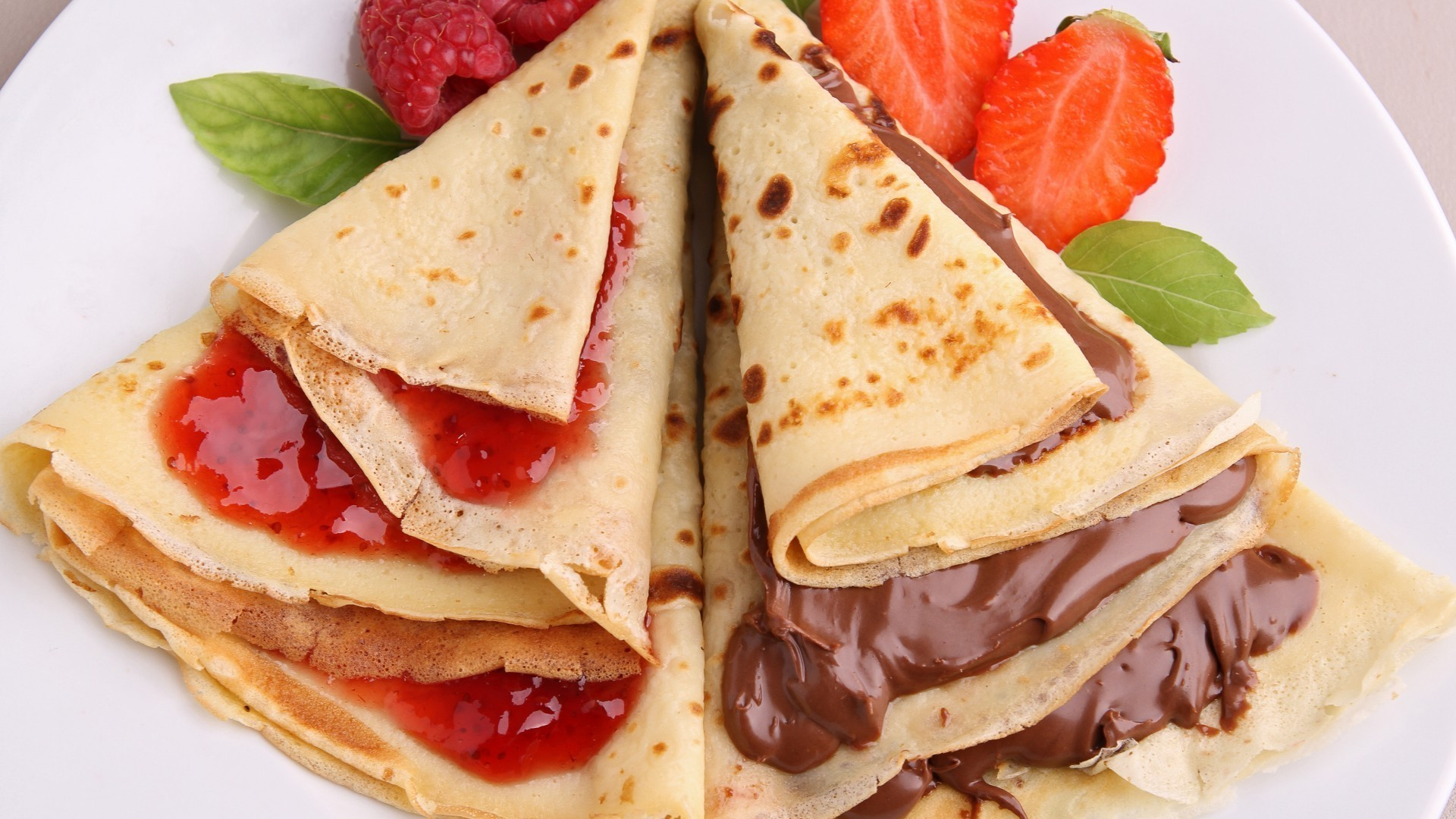 Pancakes with jam and chocolate