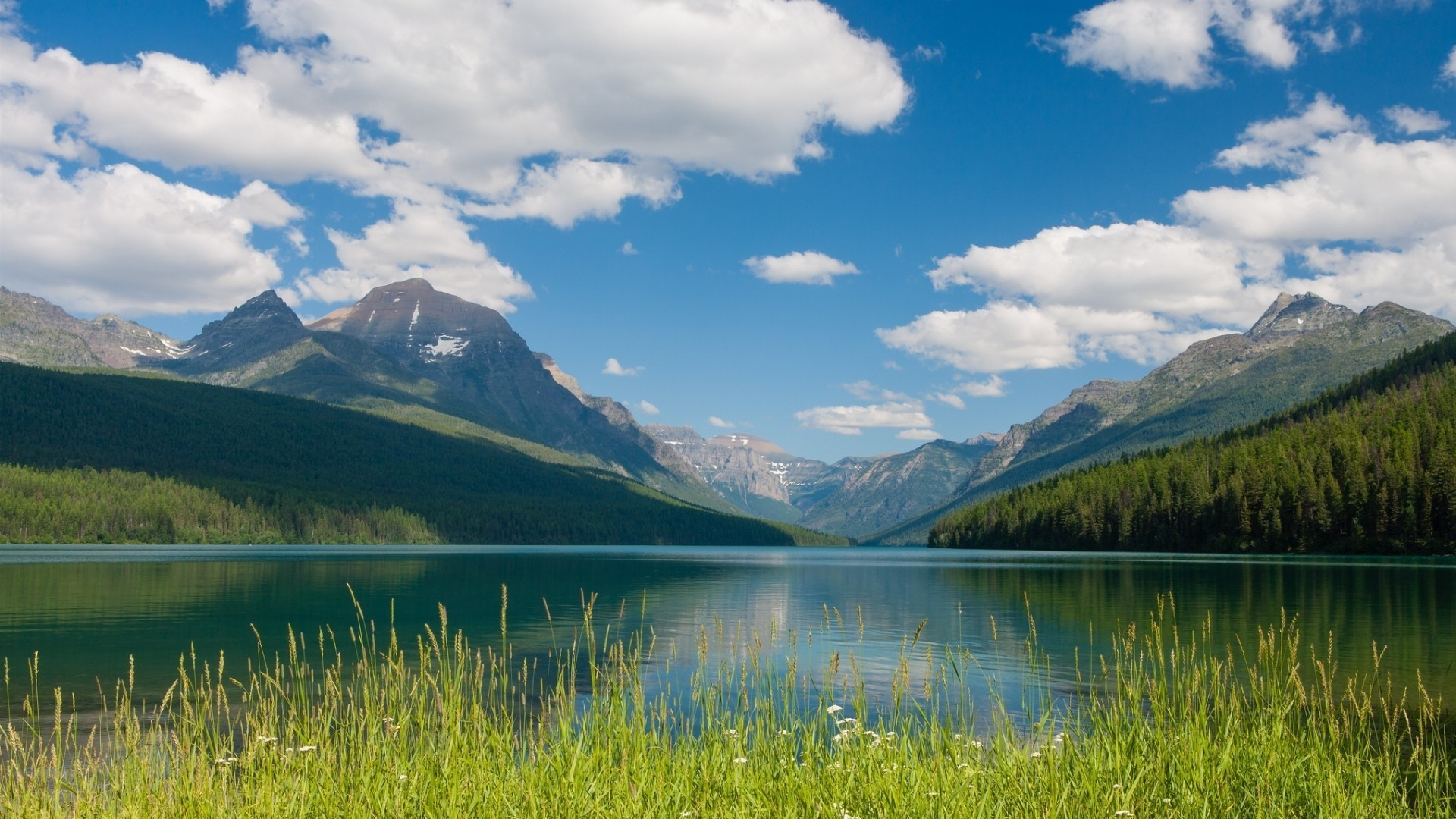 Mountains, sky, lake, forest, grass