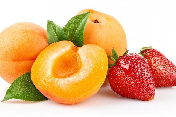 Apricots, strawberries