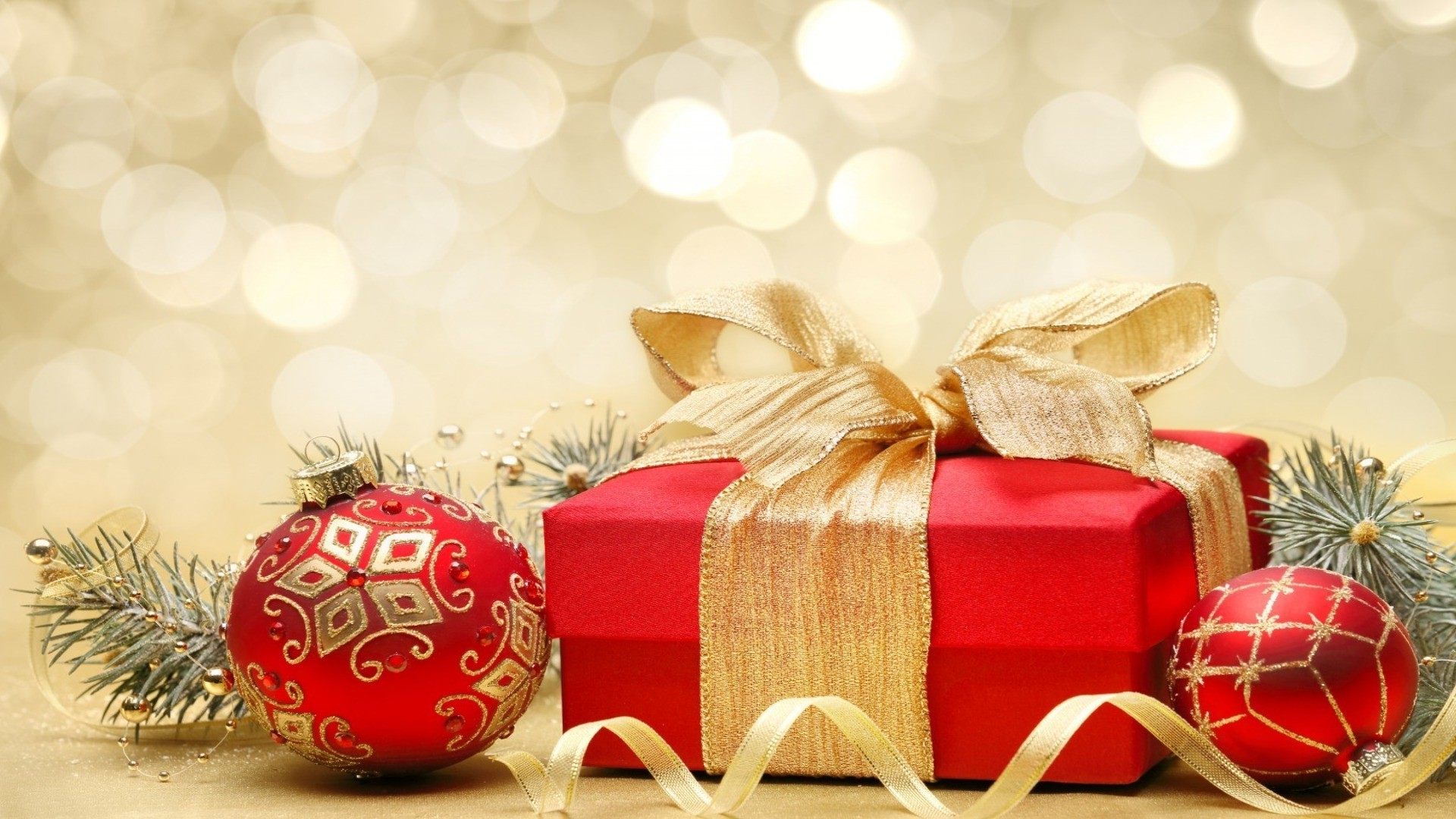 Christmas Gift Balls Fir Tree Branches Android Wallpapers