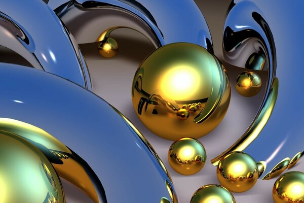 Abstraction, gold balls, silver figures
