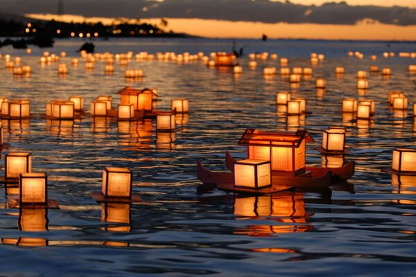 Lanterns on the water