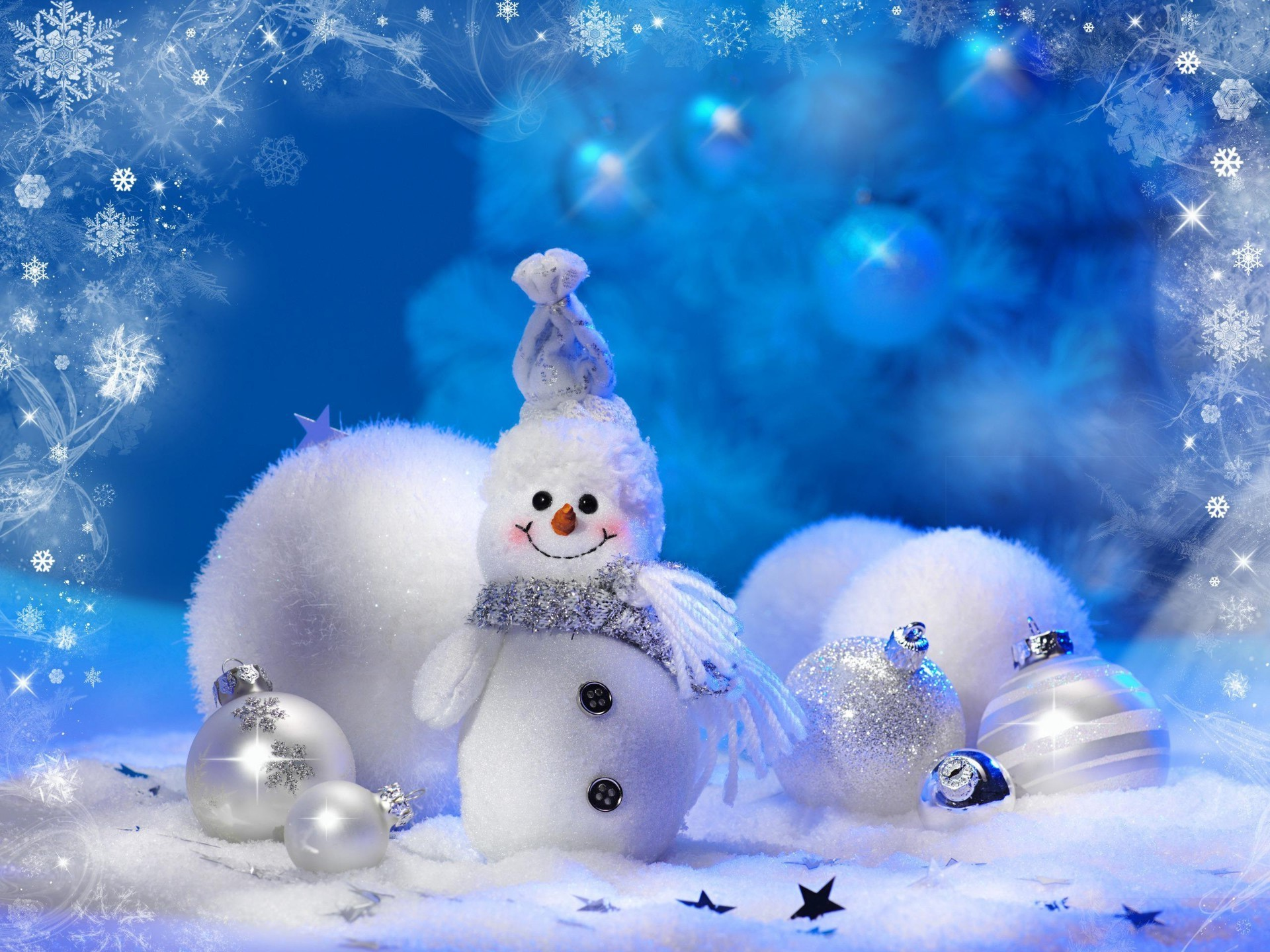 cheerful snowman. desktop wallpapers for free.