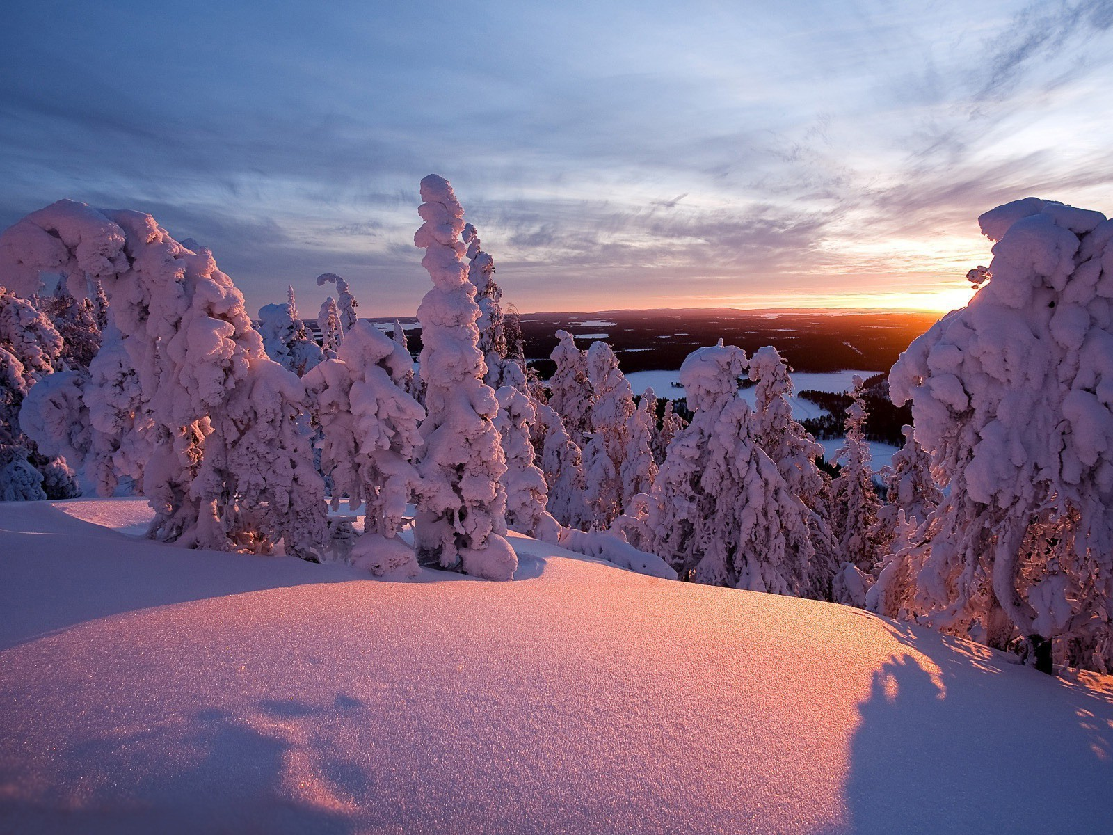 the sunset and sunrise snow winter ice cold frost frozen dawn landscape weather travel frosty
