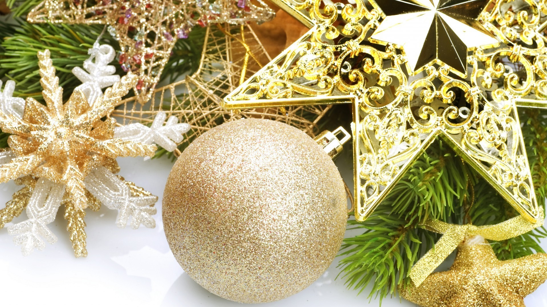 new year christmas decoration winter gold thread celebration shining ball glisten merry bow ornate bangle season gift tree desktop pine traditional sphere