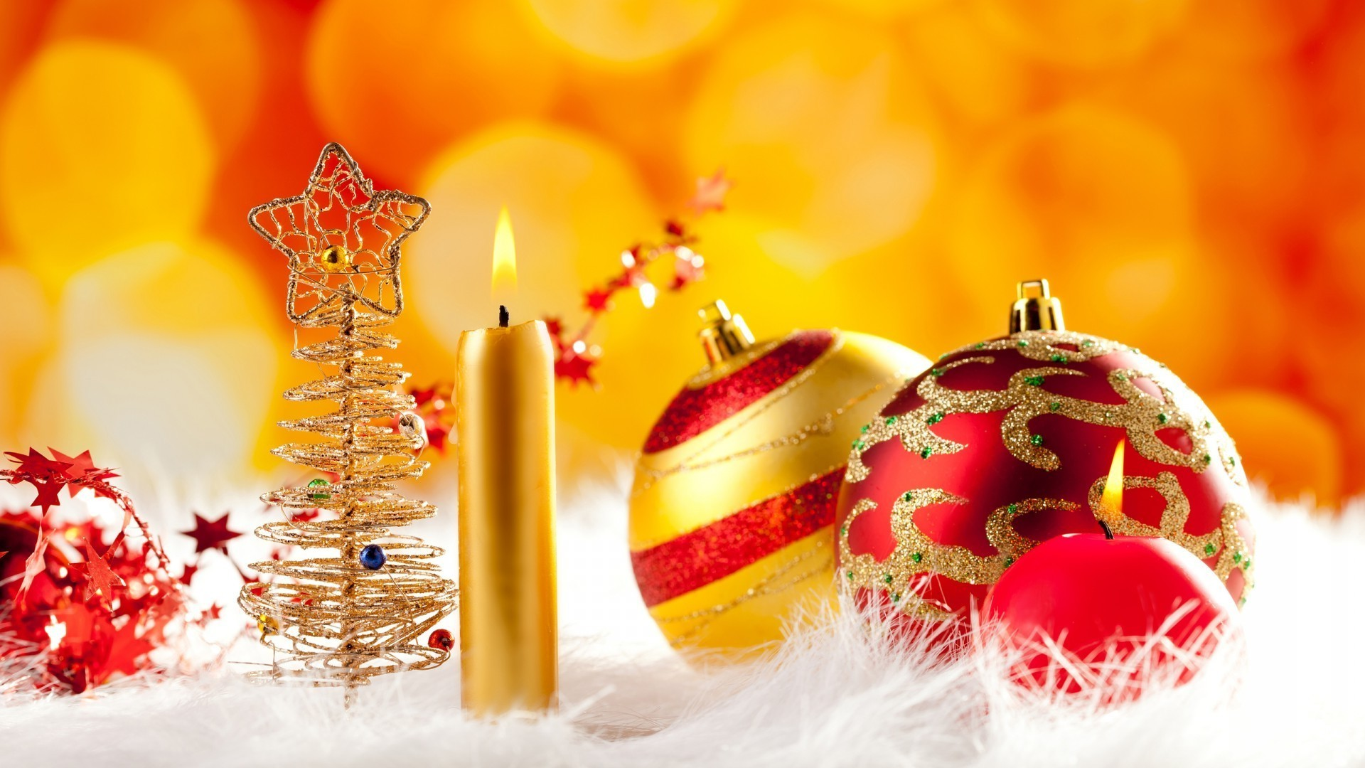 new year christmas winter decoration shining celebration gold thread candle merry bright ball traditional bow glisten ornate season