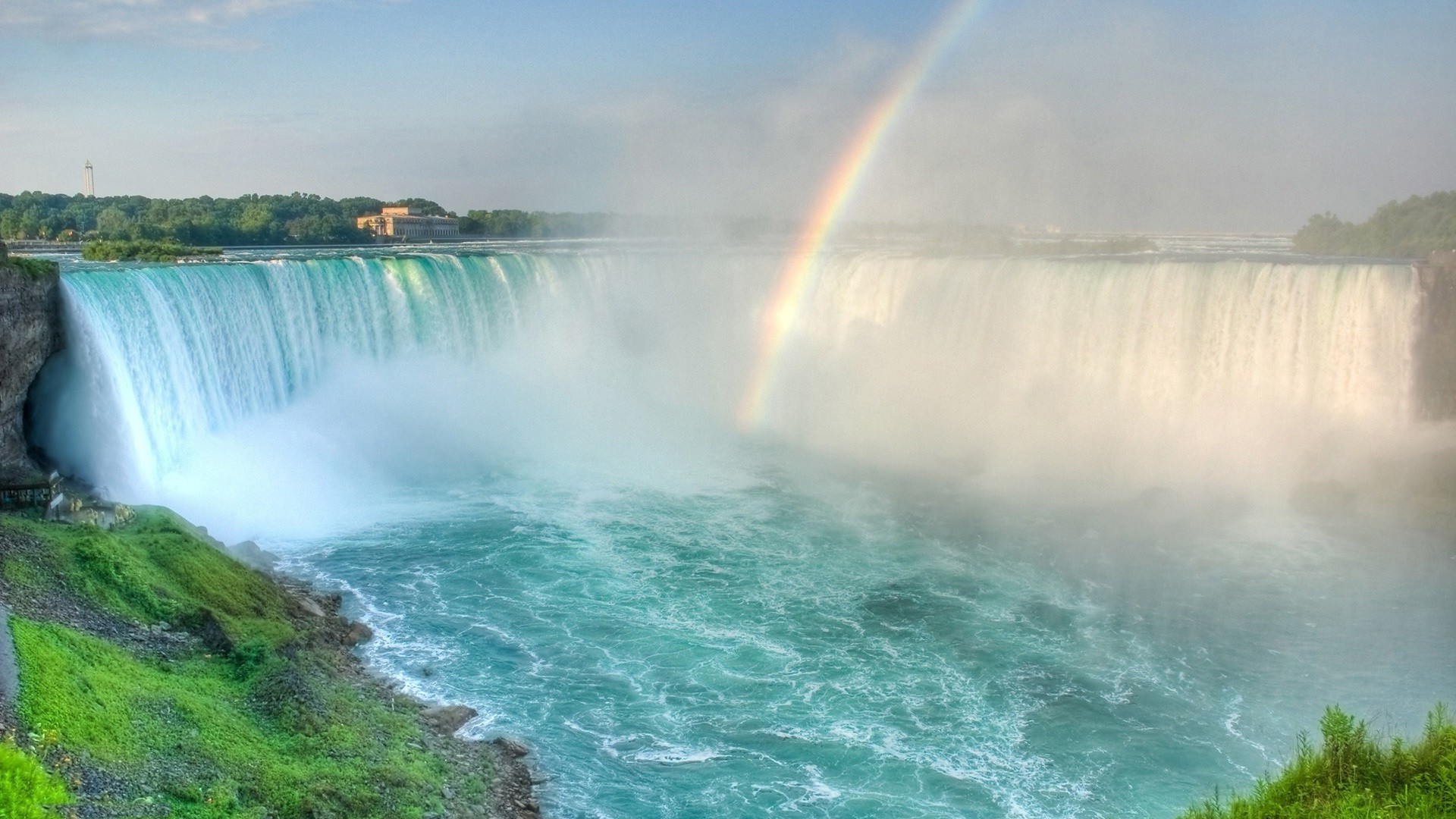 waterfalls water rainbow waterfall landscape travel nature spray summer surf outdoors seashore river recreation motion beach sky