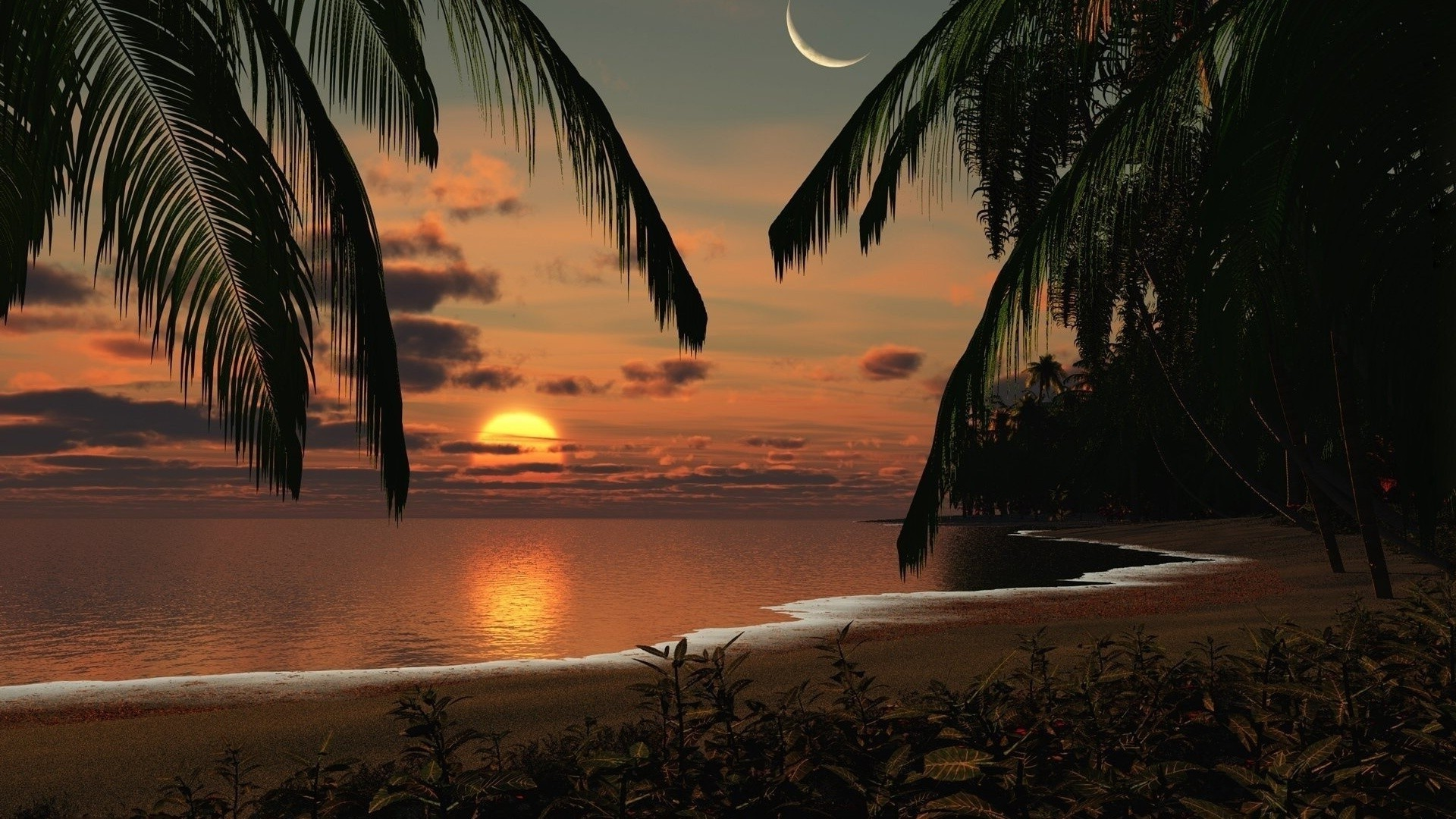 Sunset on a tropical island