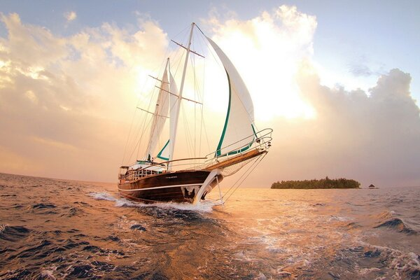 Sailing yacht on the sea
