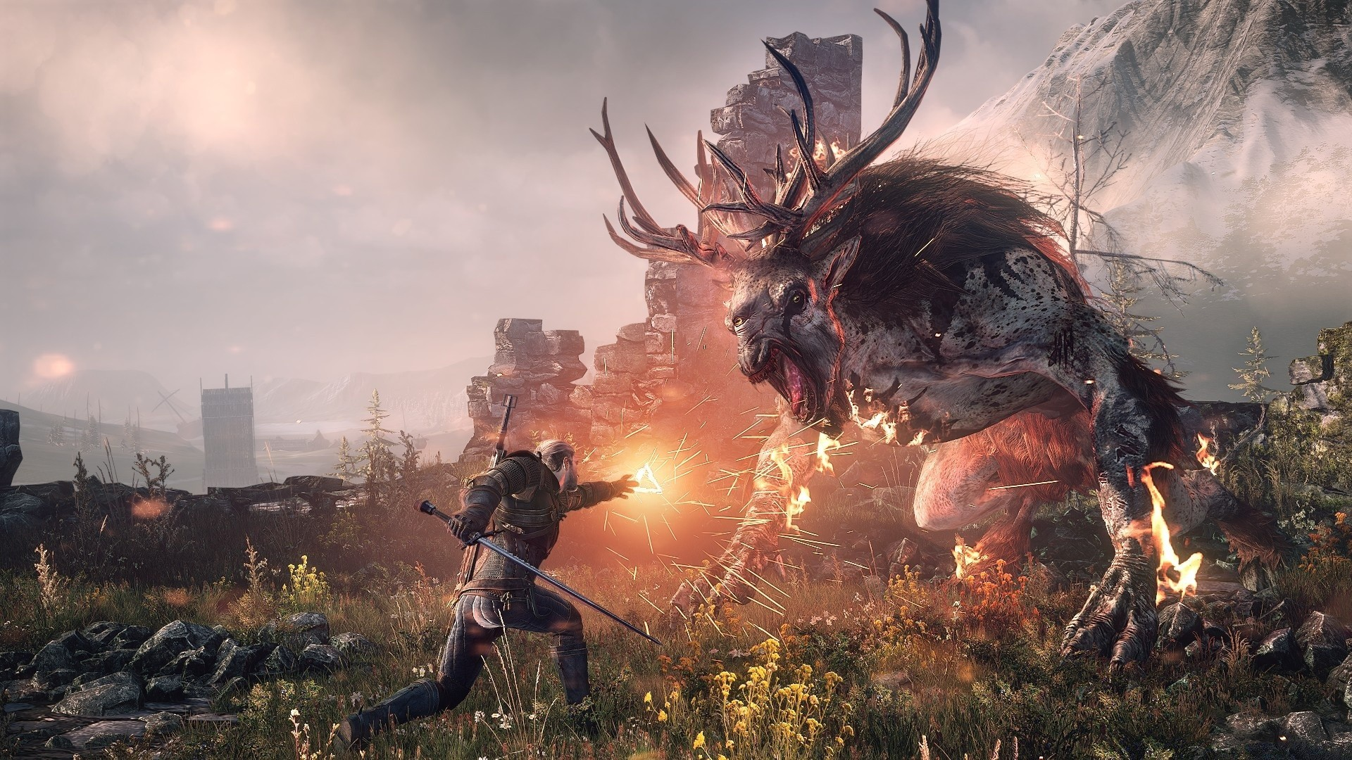 the witcher 3 wild hunt geralt fighting the fiend android