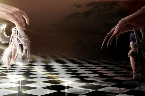 Angel and demon are playing chess