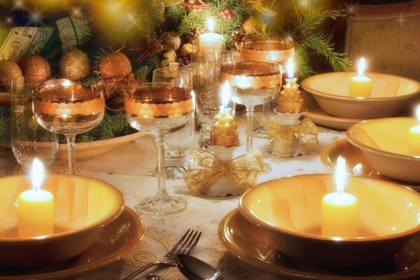 New year table, table setting