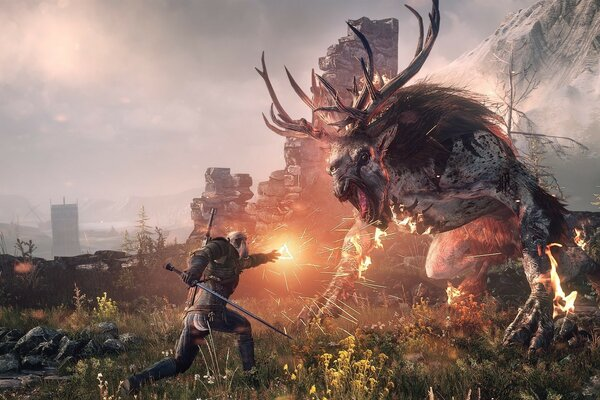 The Witcher 3 Wild Hunt - Geralt Fighting the Fiend