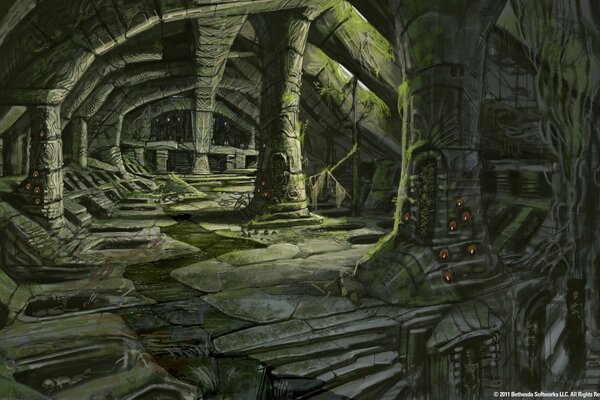 The Elder Scrolls V Skyrim Nordic Barrow Interior Ruins