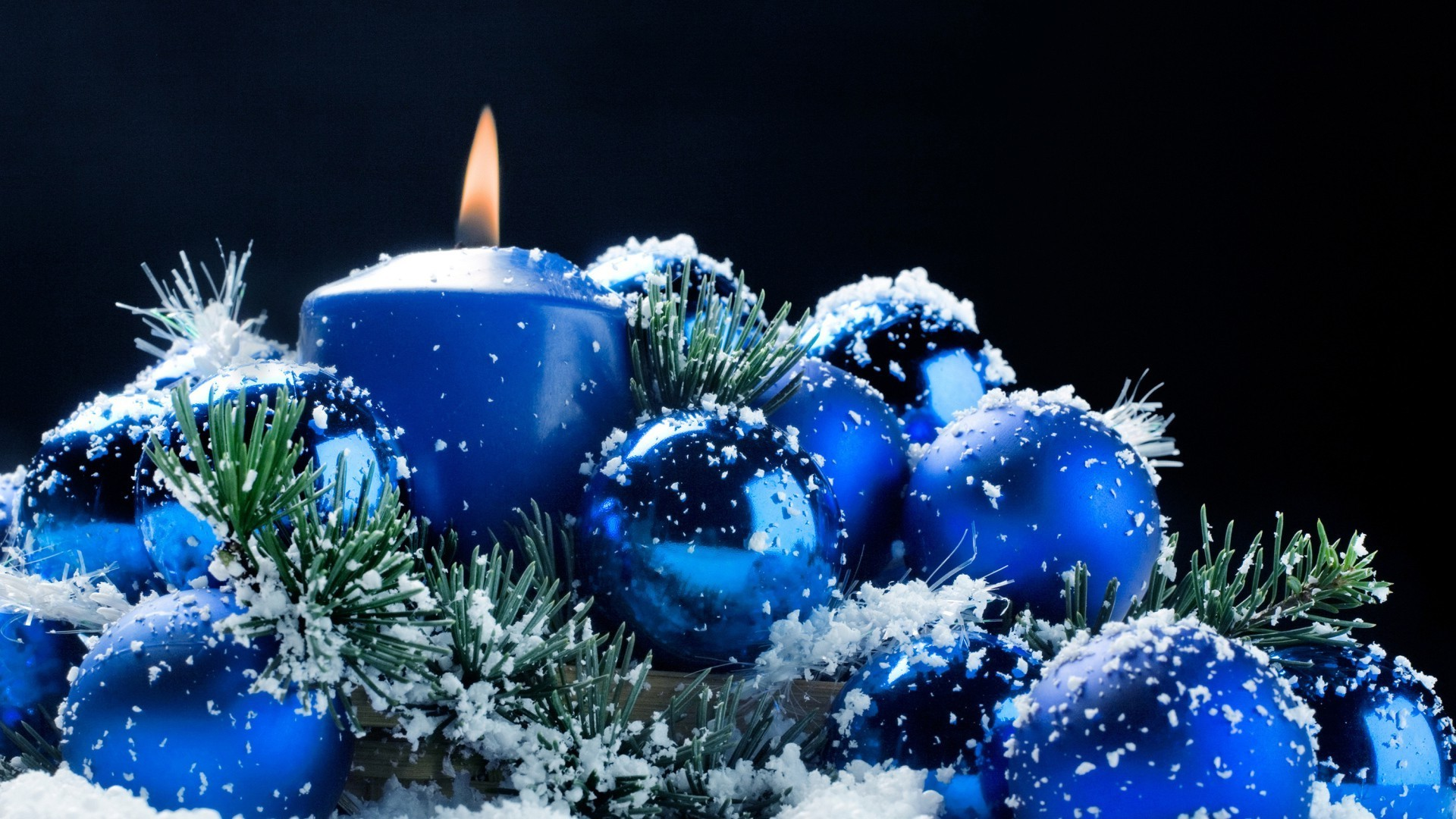 Christmas arrangement in blue Phone wallpapers