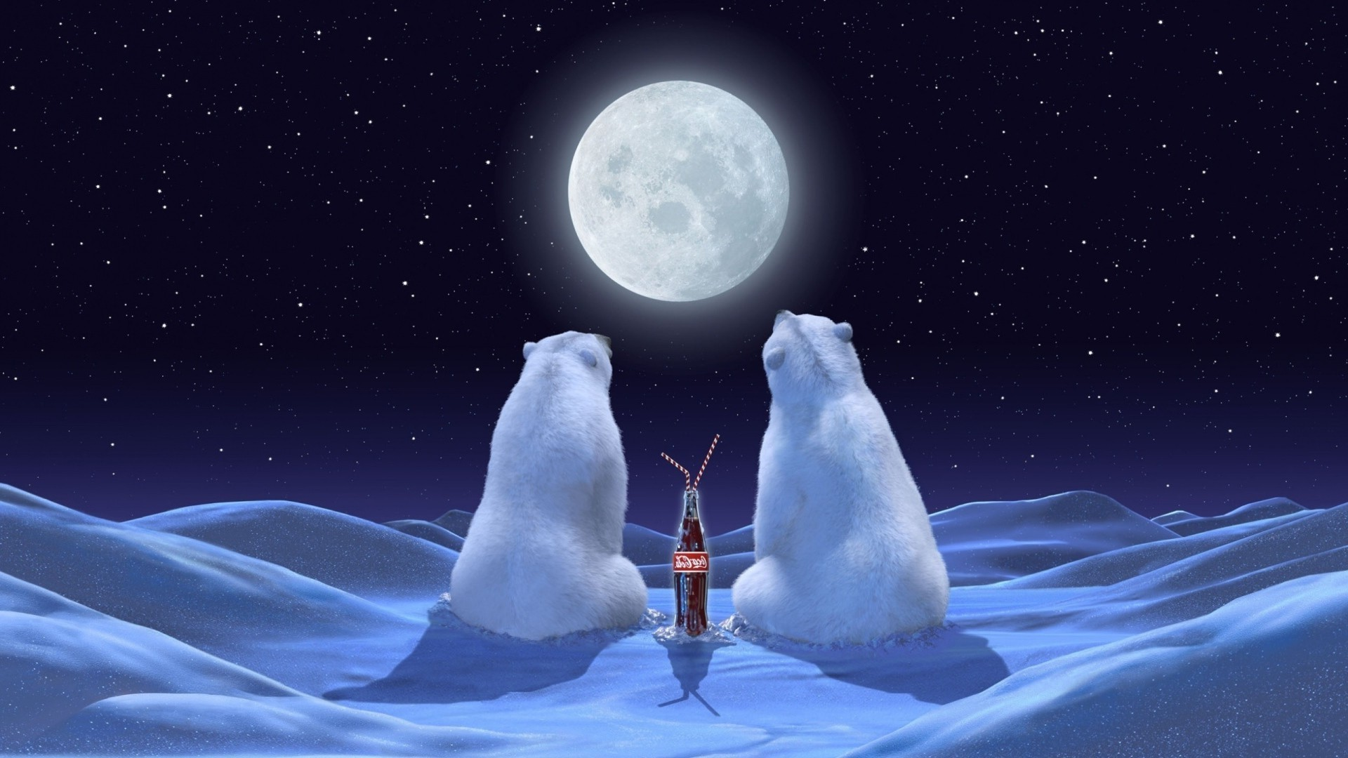 Polar Bears Coca Cola Stars Moon Android Wallpapers