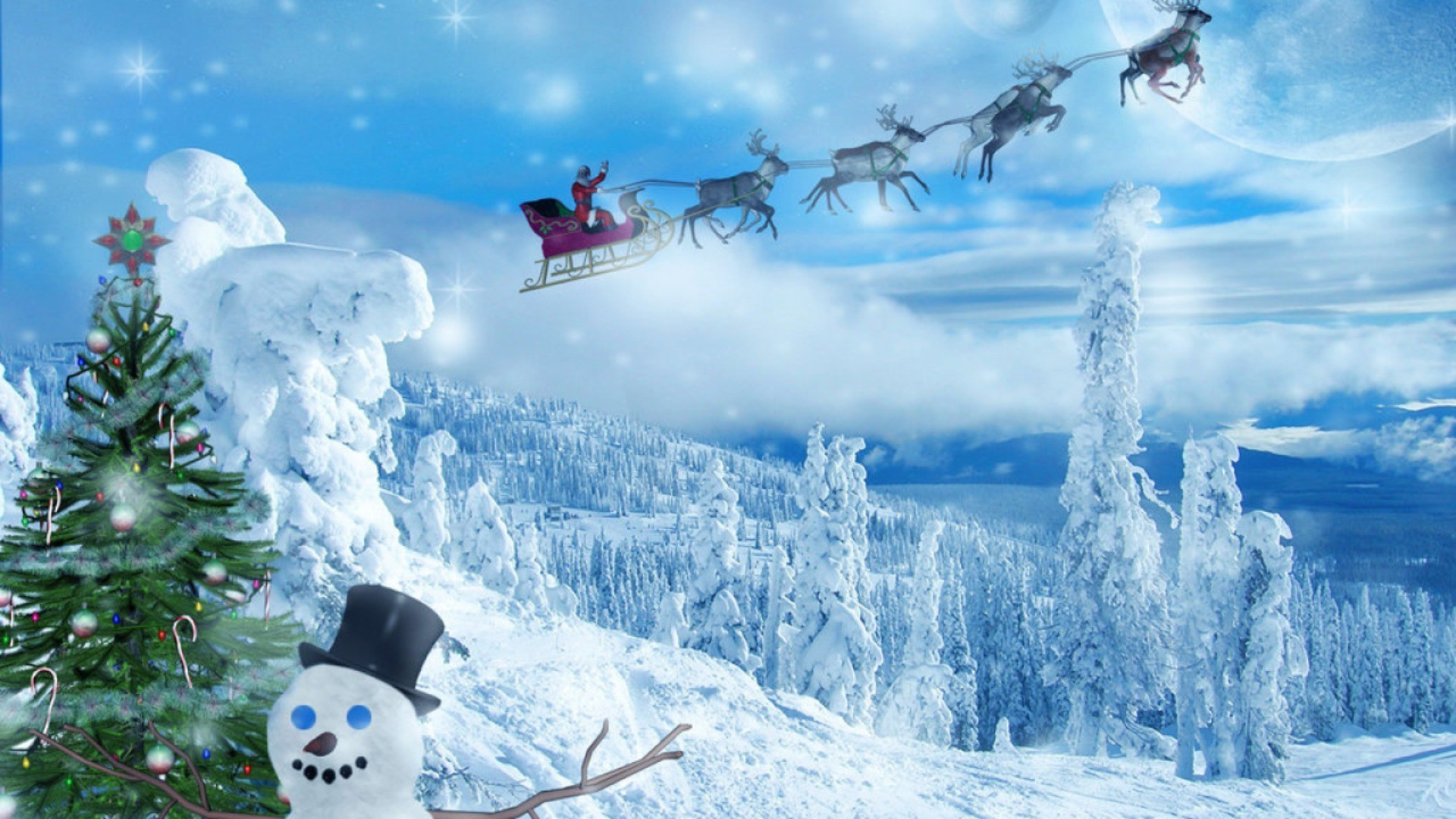 Winter Forest Christmas Tree Snowman Santa On Reindeer