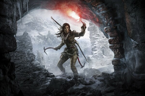 Rise of the Tomb Raider Lara Croft at a Cave Entrance