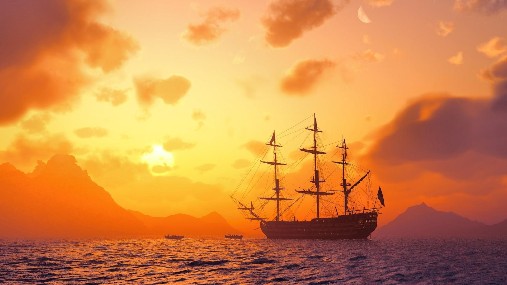 Ship at sunset in the ocean