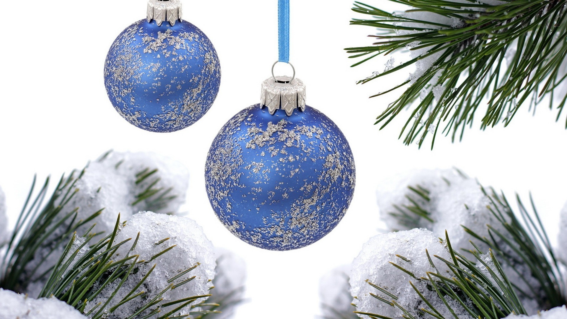 Blue balls on the Christmas tree. iPhone wallpapers for free.