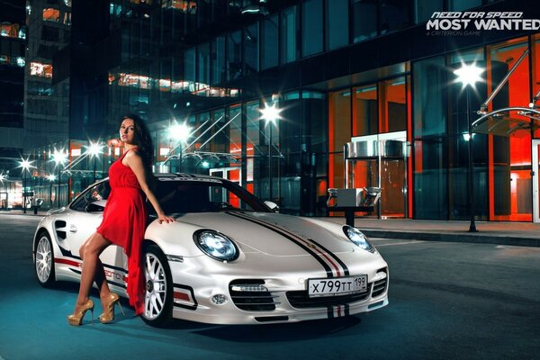 Girl in a red Porsche