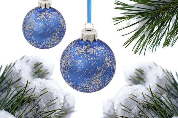 Blue balls on the Christmas tree