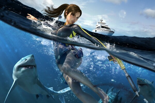 Tomb Raider Underworld Lara Croft Swimming With Sharks